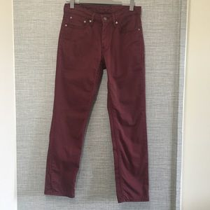 Levi's 511 High Rise Burgundy Riding Jeans W31 L30